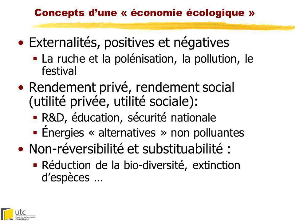Concepts dune « économie écologique » Externalités, positives et négatives La ruche et la polénisation, la pollution, le festival Rendement privé, ren