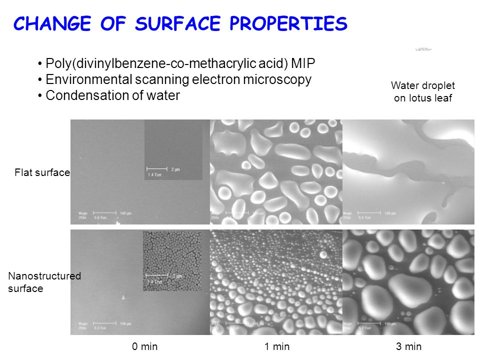 CHANGE OF SURFACE PROPERTIES Flat surface Nanostructured surface 0 min1 min3 min Poly(divinylbenzene-co-methacrylic acid) MIP Environmental scanning electron microscopy Condensation of water Water droplet on lotus leaf