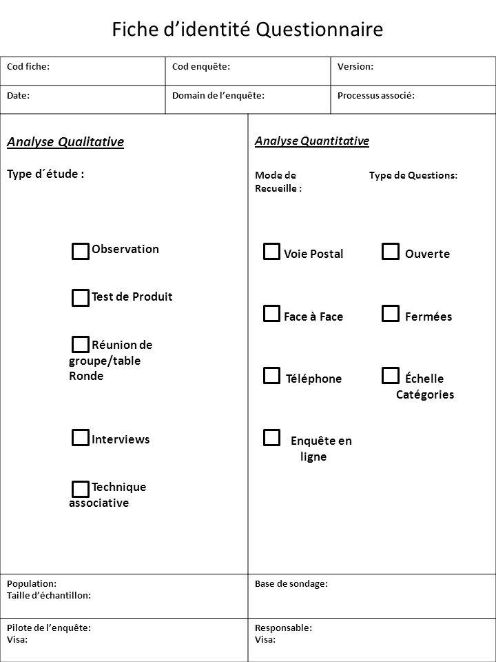 Analyse Qualitative Type d´étude : Analyse Quantitative Mode de Type de Questions: Recueille : Observation Test de Produit Réunion de groupe/table Ron
