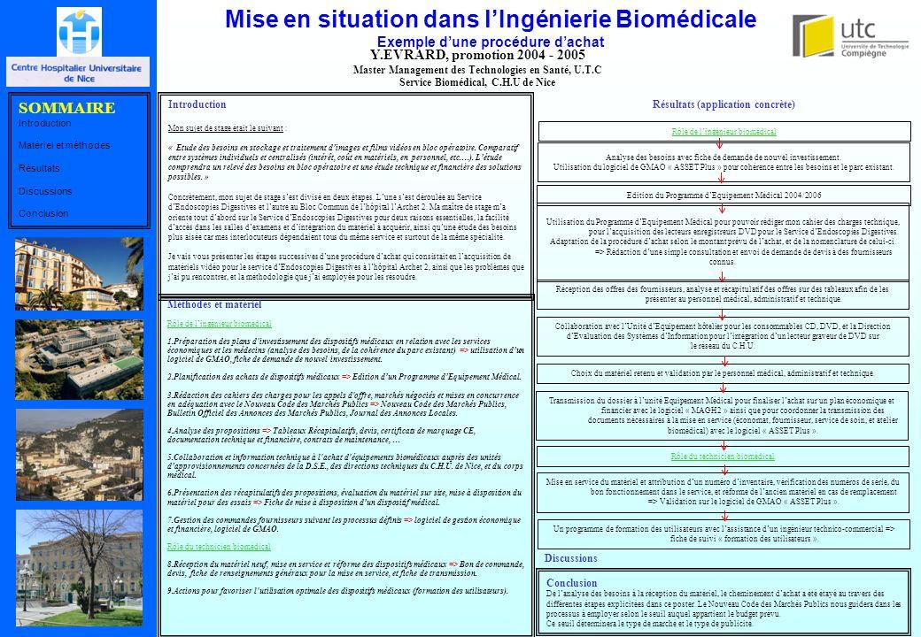 Mise en situation dans lIngénierie Biomédicale Exemple dune procédure dachat Y.EVRARD, promotion 2004 - 2005 Master Management des Technologies en San