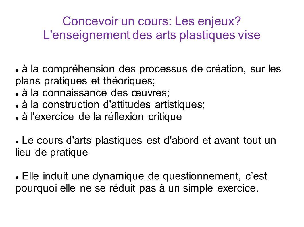 Concevoir un cours: Les enjeux? L'enseignement des arts plastiques vise à la compréhension des processus de création, sur les plans pratiques et théor