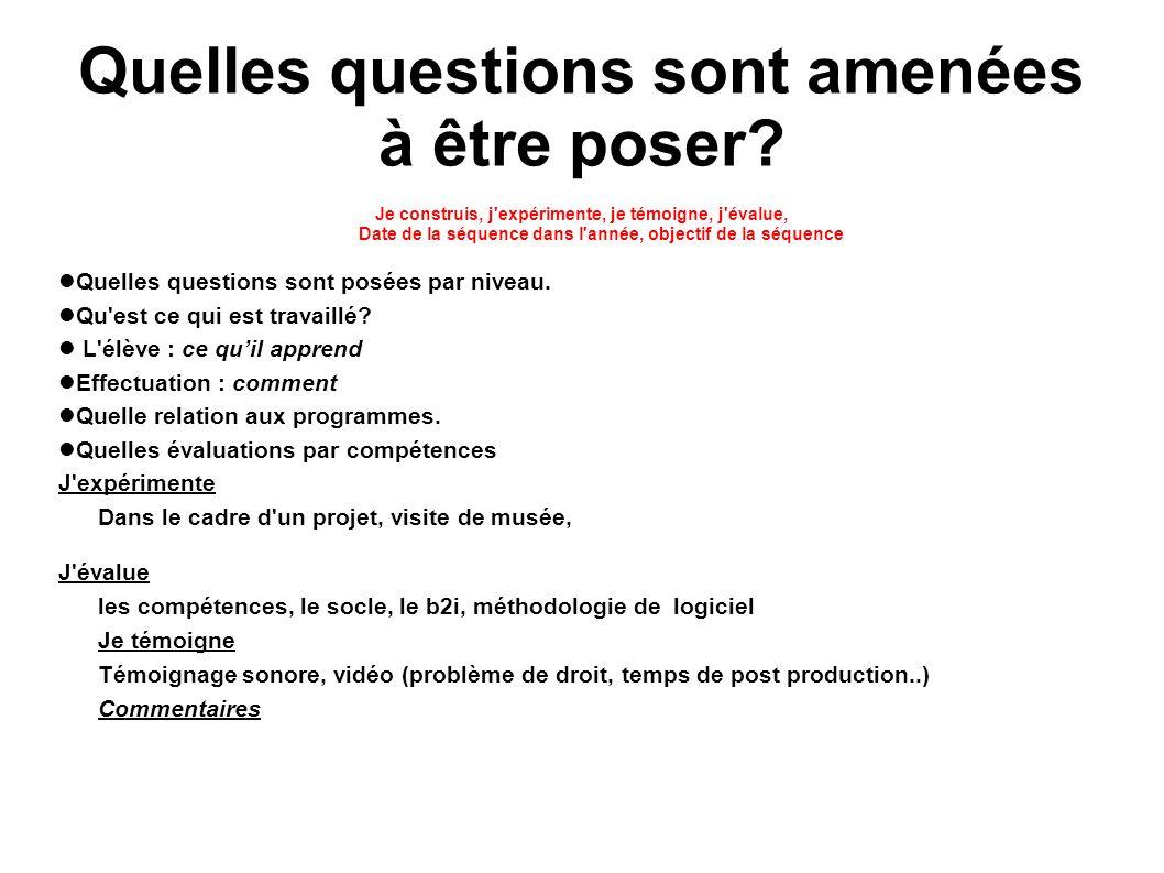 Quelles questions sont amenées à être poser? Je construis, j'expérimente, je témoigne, j'évalue, Date de la séquence dans l'année, objectif de la séqu