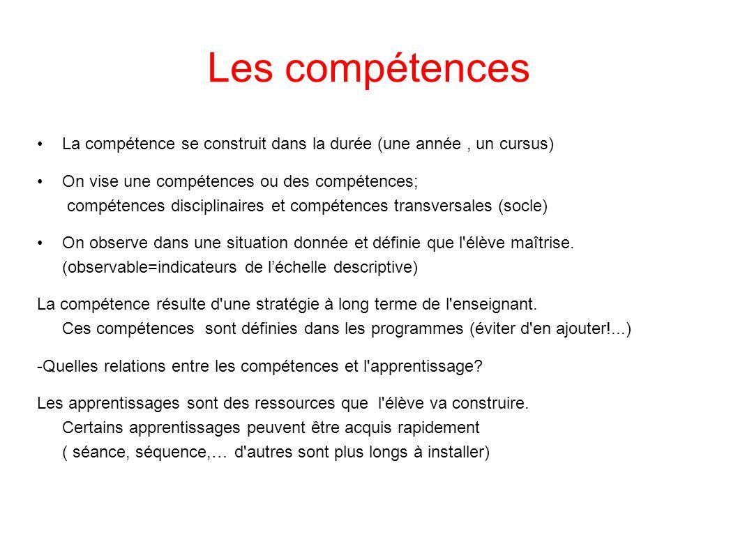 Les compétences La compétence se construit dans la durée (une année, un cursus) On vise une compétences ou des compétences; compétences disciplinaires