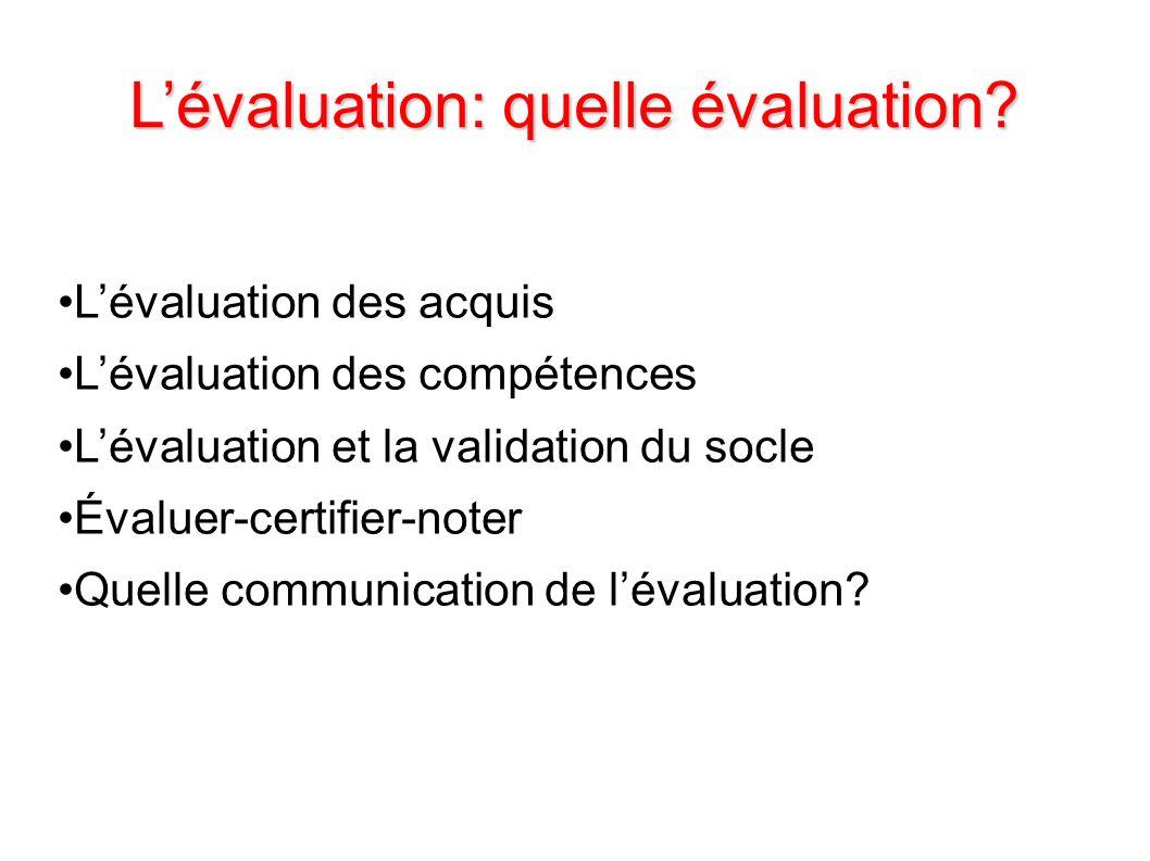 Lévaluation: quelle évaluation? Lévaluation des acquis Lévaluation des compétences Lévaluation et la validation du socle Évaluer-certifier-noter Quell
