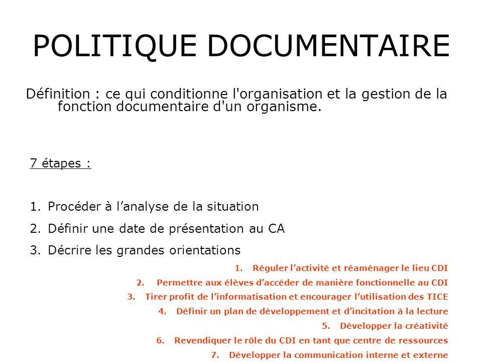 POLITIQUE DOCUMENTAIRE Définition : ce qui conditionne l'organisation et la gestion de la fonction documentaire d'un organisme. 7 étapes : 1.Procéder