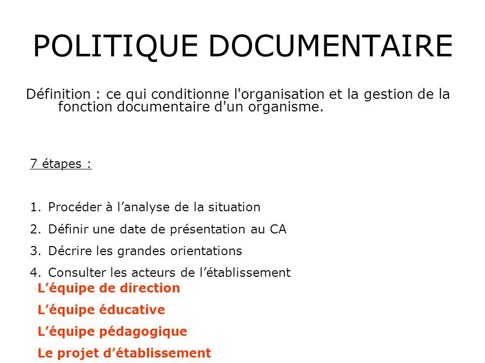 POLITIQUE DOCUMENTAIRE Définition : ce qui conditionne l organisation et la gestion de la fonction documentaire d un organisme.