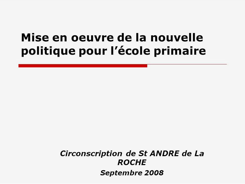 Mise en oeuvre de la nouvelle politique pour lécole primaire Circonscription de St ANDRE de La ROCHE Septembre 2008