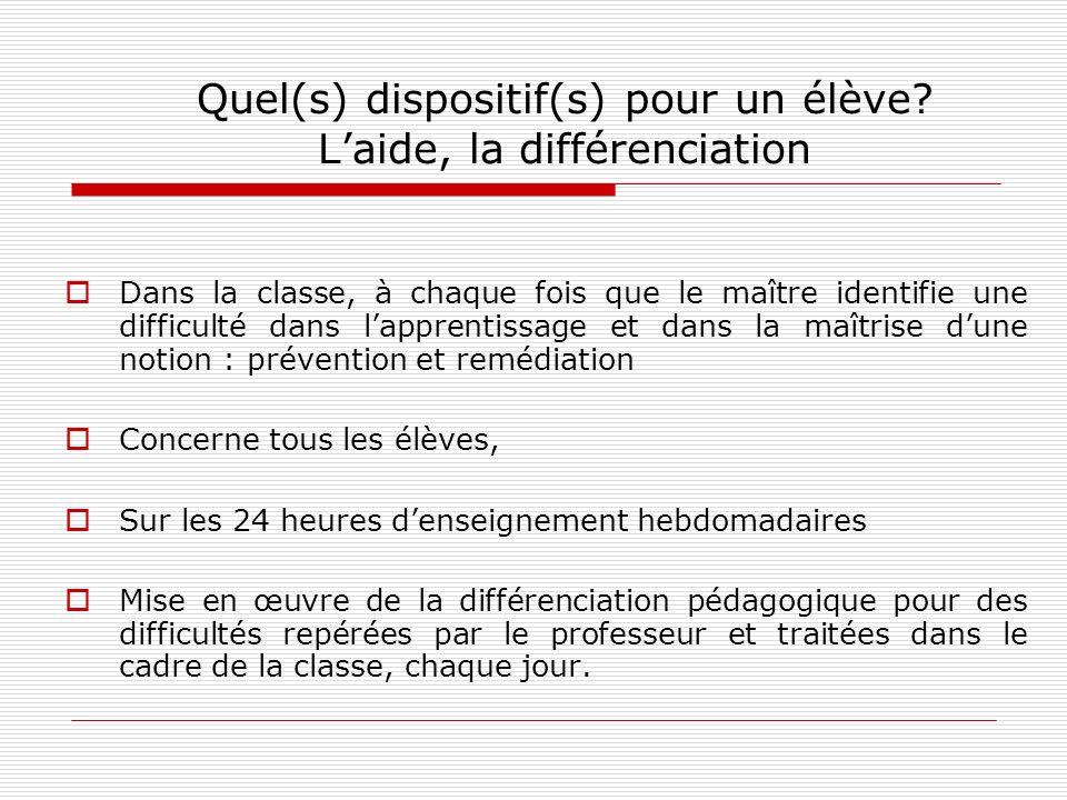Quel(s) dispositif(s) pour un élève? Laide, la différenciation Dans la classe, à chaque fois que le maître identifie une difficulté dans lapprentissag