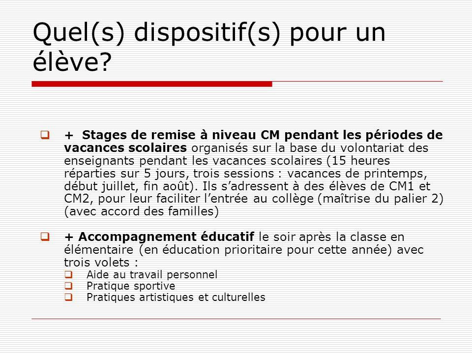 Quel(s) dispositif(s) pour un élève? + Stages de remise à niveau CM pendant les périodes de vacances scolaires organisés sur la base du volontariat de