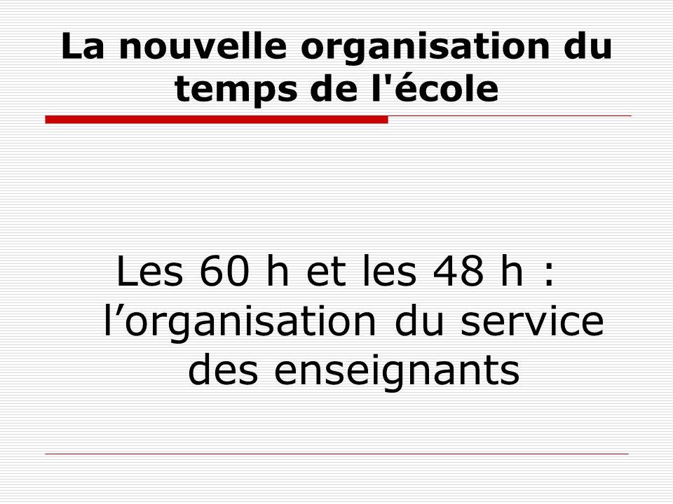 La nouvelle organisation du temps de l école Les 60 h et les 48 h : lorganisation du service des enseignants