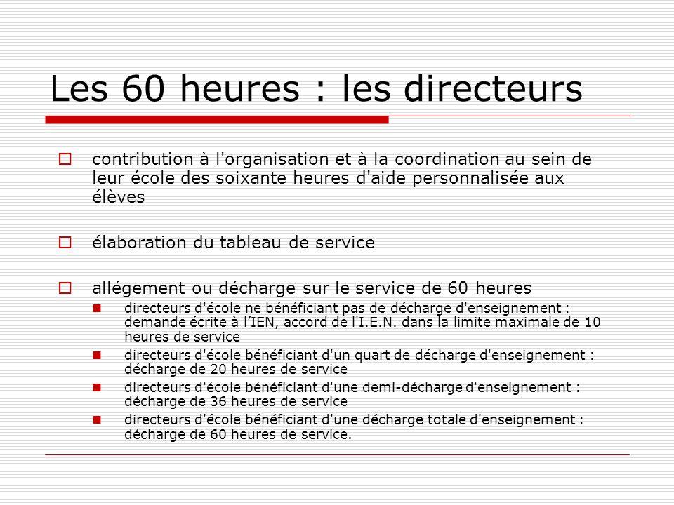 Les 60 heures : les directeurs contribution à l'organisation et à la coordination au sein de leur école des soixante heures d'aide personnalisée aux é