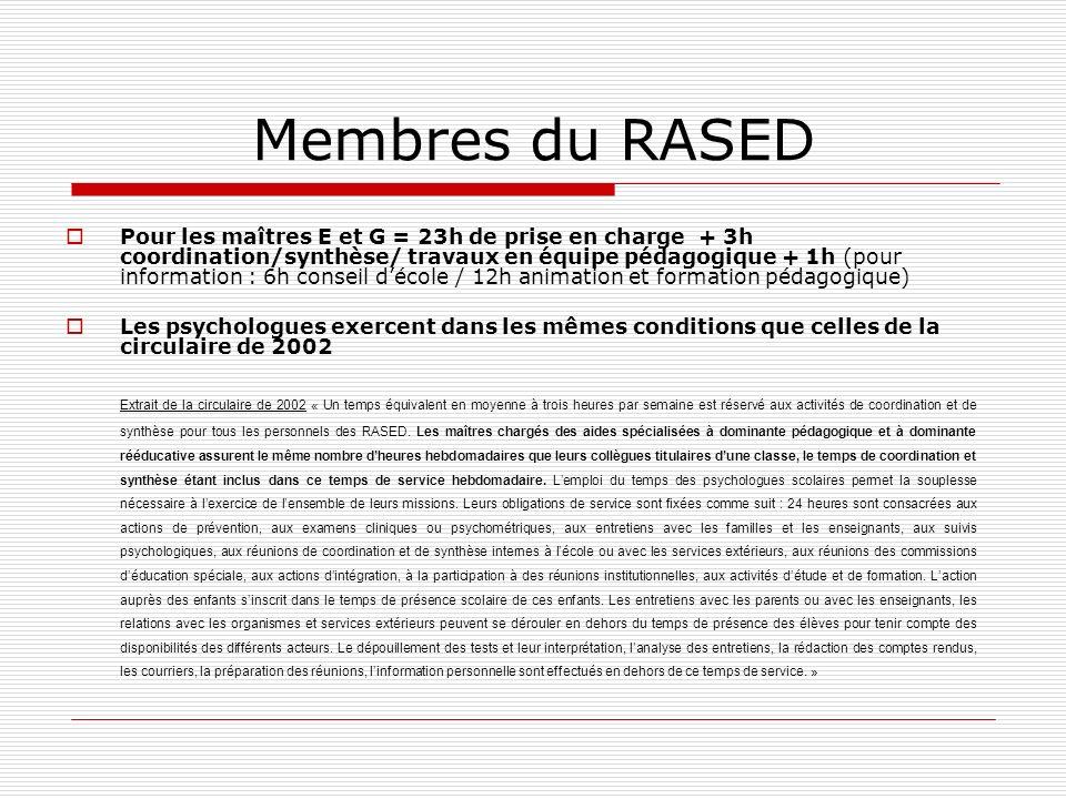 Membres du RASED Pour les maîtres E et G = 23h de prise en charge + 3h coordination/synthèse/ travaux en équipe pédagogique + 1h (pour information : 6