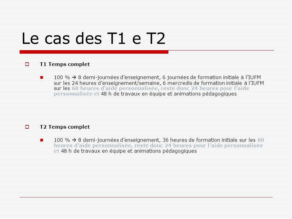Le cas des T1 e T2 T1 Temps complet 100 % 8 demi-journées denseignement, 6 journées de formation initiale à lIUFM sur les 24 heures denseignement/sema