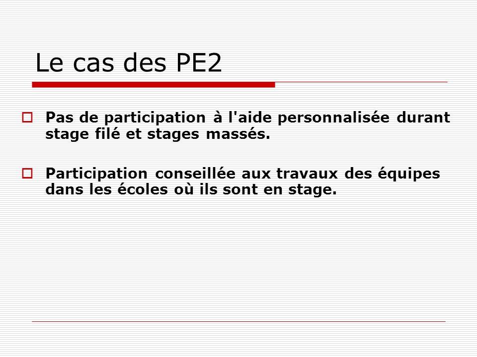 Le cas des PE2 Pas de participation à l'aide personnalisée durant stage filé et stages massés. Participation conseillée aux travaux des équipes dans l