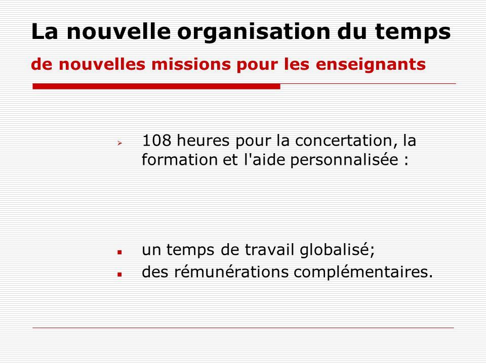 La nouvelle organisation du temps de nouvelles missions pour les enseignants 108 heures pour la concertation, la formation et l'aide personnalisée : u