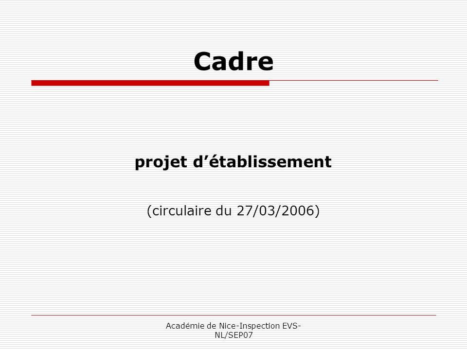 Académie de Nice-Inspection EVS- NL/SEP07 Cadre projet détablissement (circulaire du 27/03/2006)