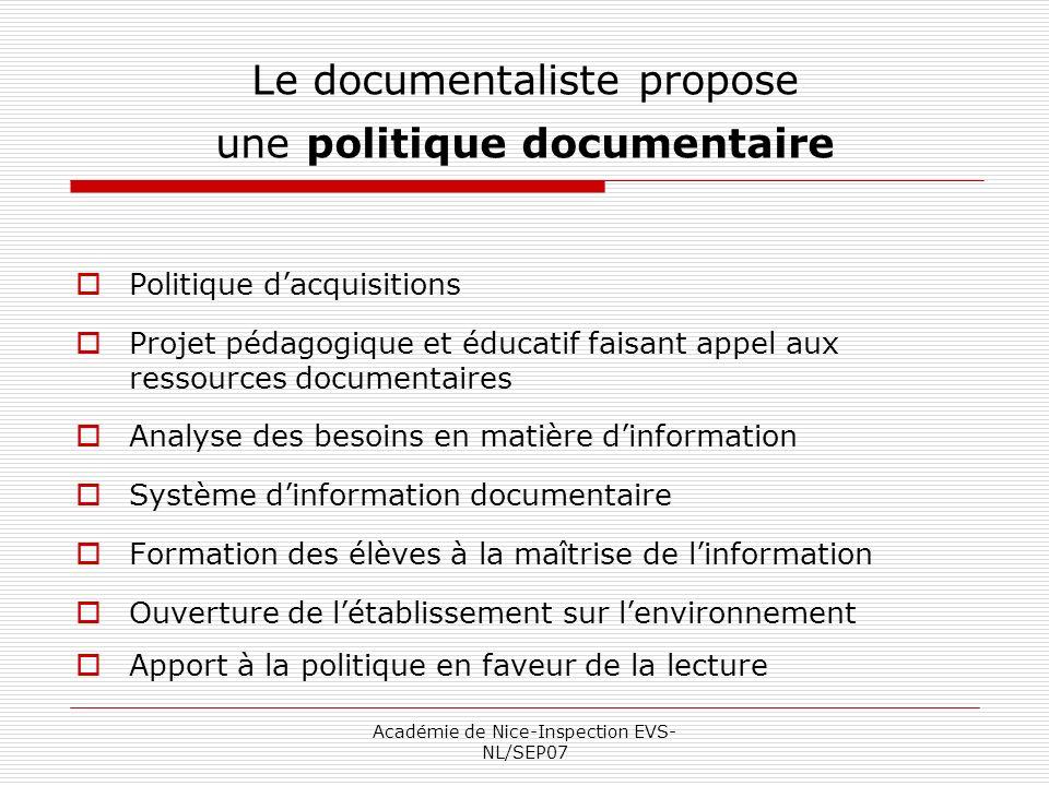 Académie de Nice-Inspection EVS- NL/SEP07 Le documentaliste propose une politique documentaire Politique dacquisitions Projet pédagogique et éducatif