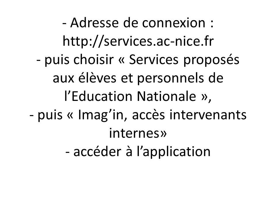 - Adresse de connexion : http://services.ac-nice.fr - puis choisir « Services proposés aux élèves et personnels de lEducation Nationale », - puis « Imagin, accès intervenants internes» - accéder à lapplication