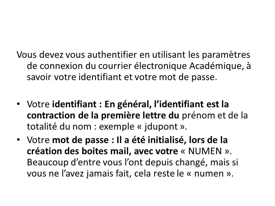 Vous devez vous authentifier en utilisant les paramètres de connexion du courrier électronique Académique, à savoir votre identifiant et votre mot de passe.
