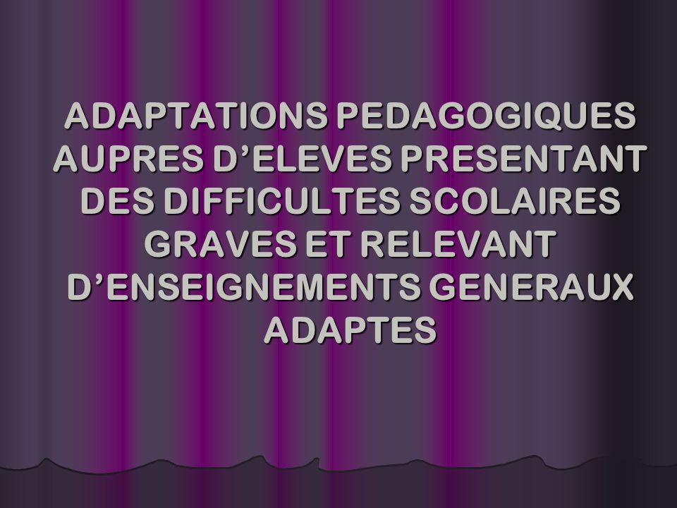 ADAPTATIONS PEDAGOGIQUES AUPRES DELEVES PRESENTANT DES DIFFICULTES SCOLAIRES GRAVES ET RELEVANT DENSEIGNEMENTS GENERAUX ADAPTES