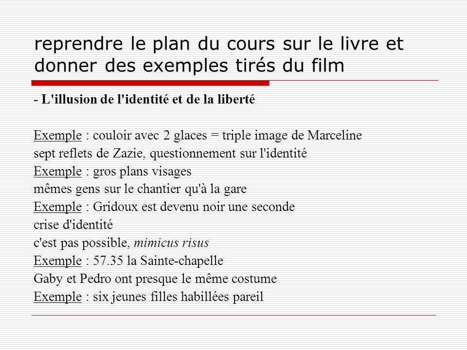 reprendre le plan du cours sur le livre et donner des exemples tirés du film - L'illusion de l'identité et de la liberté Exemple : couloir avec 2 glac