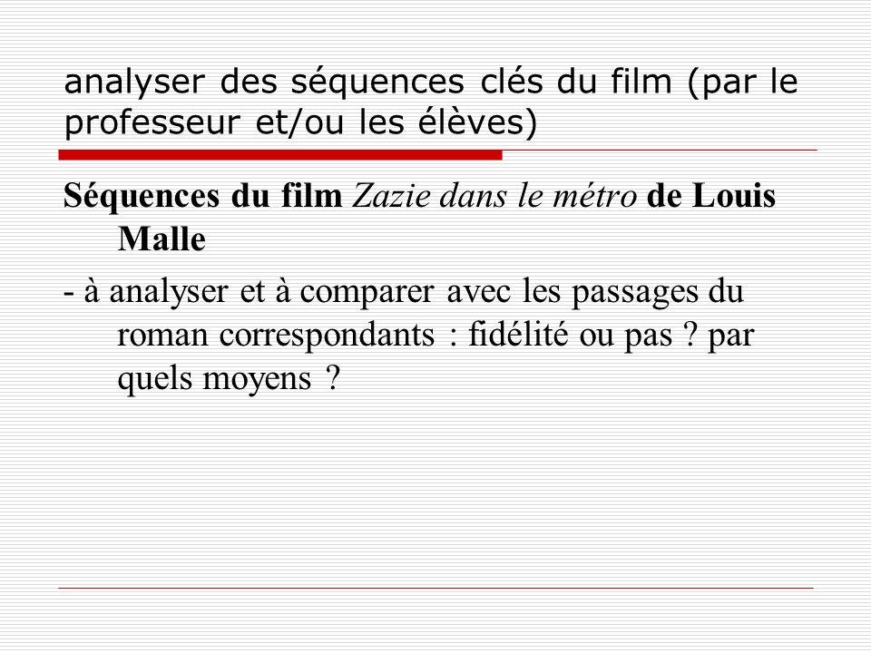 analyser des séquences clés du film (par le professeur et/ou les élèves) Séquences du film Zazie dans le métro de Louis Malle - à analyser et à compar