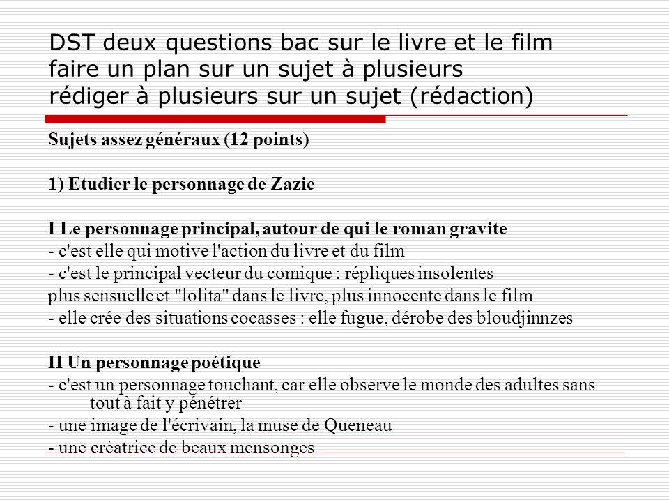 DST deux questions bac sur le livre et le film faire un plan sur un sujet à plusieurs rédiger à plusieurs sur un sujet (rédaction) Sujets assez généra