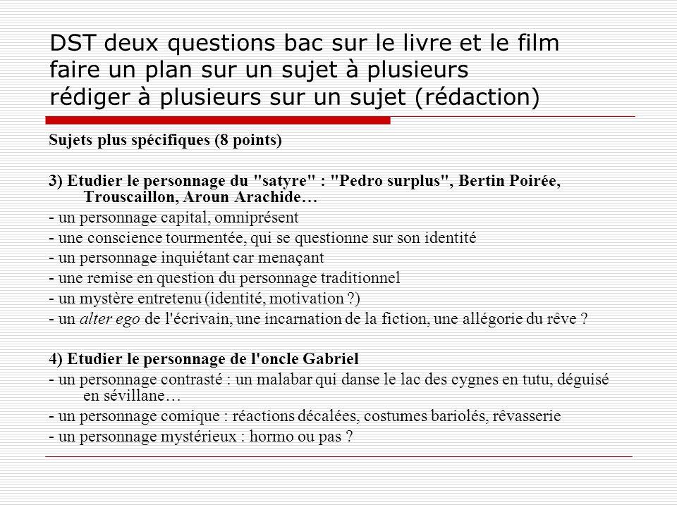 DST deux questions bac sur le livre et le film faire un plan sur un sujet à plusieurs rédiger à plusieurs sur un sujet (rédaction) Sujets plus spécifi