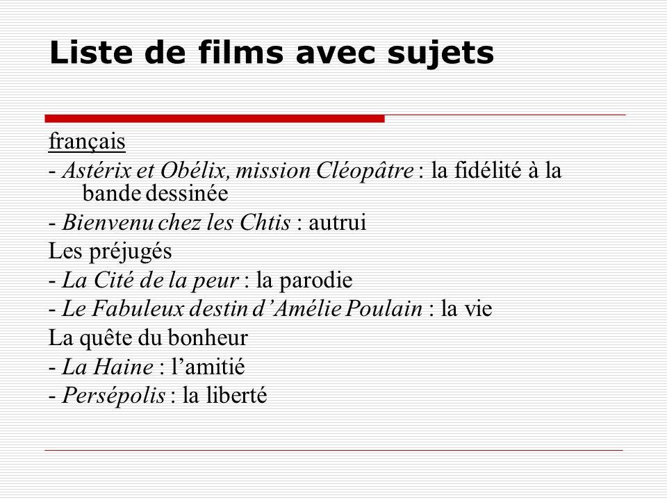 Liste de films avec sujets français - Astérix et Obélix, mission Cléopâtre : la fidélité à la bande dessinée - Bienvenu chez les Chtis : autrui Les pr