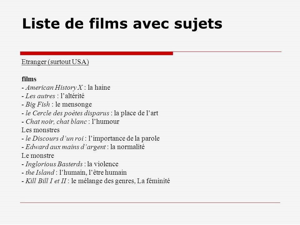 Liste de films avec sujets Etranger (surtout USA) films - American History X : la haine - Les autres : laltérité - Big Fish : le mensonge - le Cercle