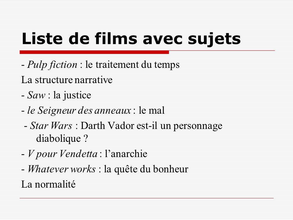 Liste de films avec sujets - Pulp fiction : le traitement du temps La structure narrative - Saw : la justice - le Seigneur des anneaux : le mal - Star