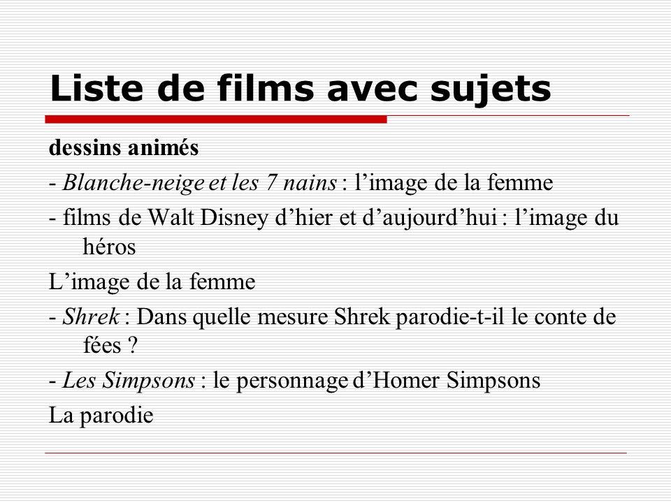 Liste de films avec sujets dessins animés - Blanche-neige et les 7 nains : limage de la femme - films de Walt Disney dhier et daujourdhui : limage du