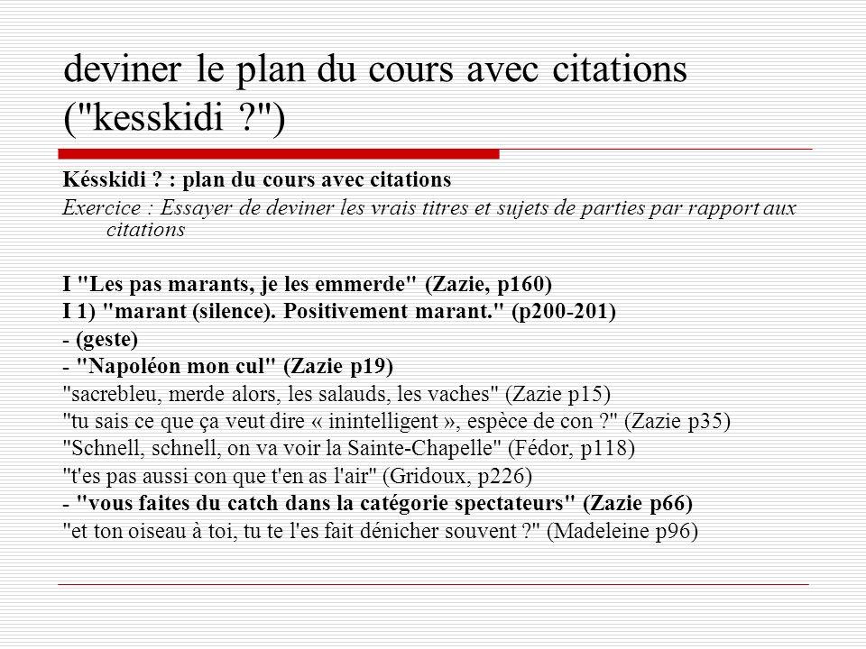 Késskidi ? : plan du cours avec citations Exercice : Essayer de deviner les vrais titres et sujets de parties par rapport aux citations I