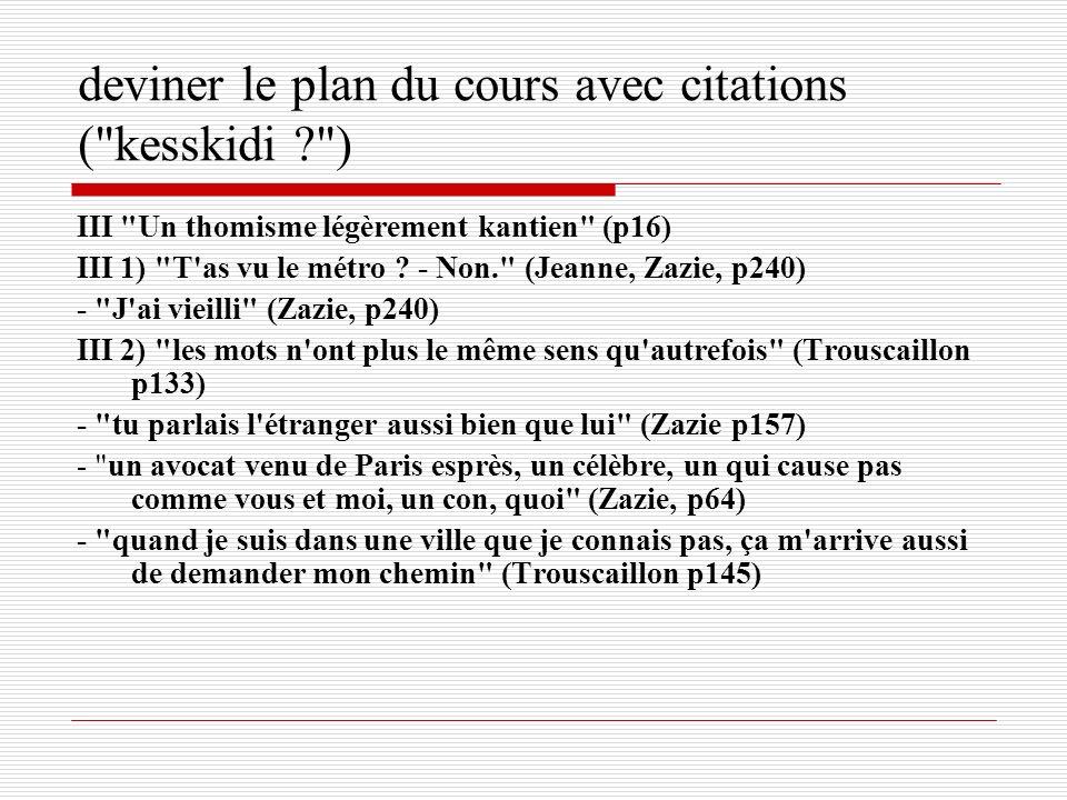deviner le plan du cours avec citations (