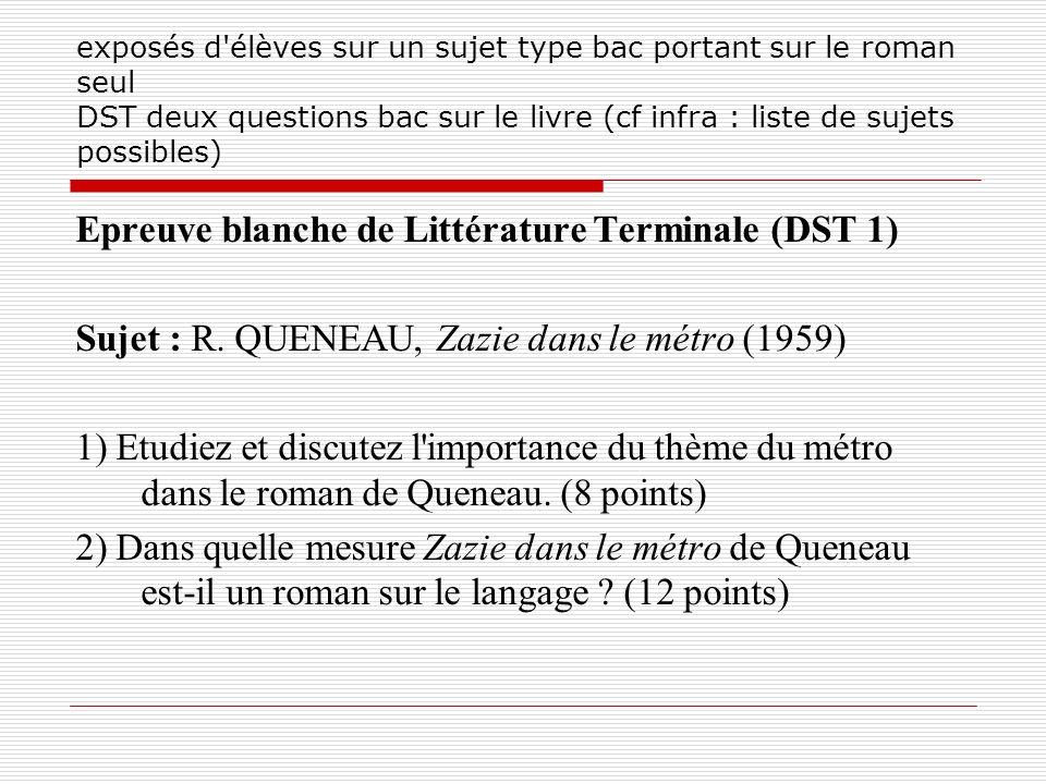 exposés d'élèves sur un sujet type bac portant sur le roman seul DST deux questions bac sur le livre (cf infra : liste de sujets possibles) Epreuve bl