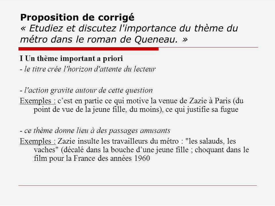 Proposition de corrigé « Etudiez et discutez l'importance du thème du métro dans le roman de Queneau. » I Un thème important a priori - le titre crée