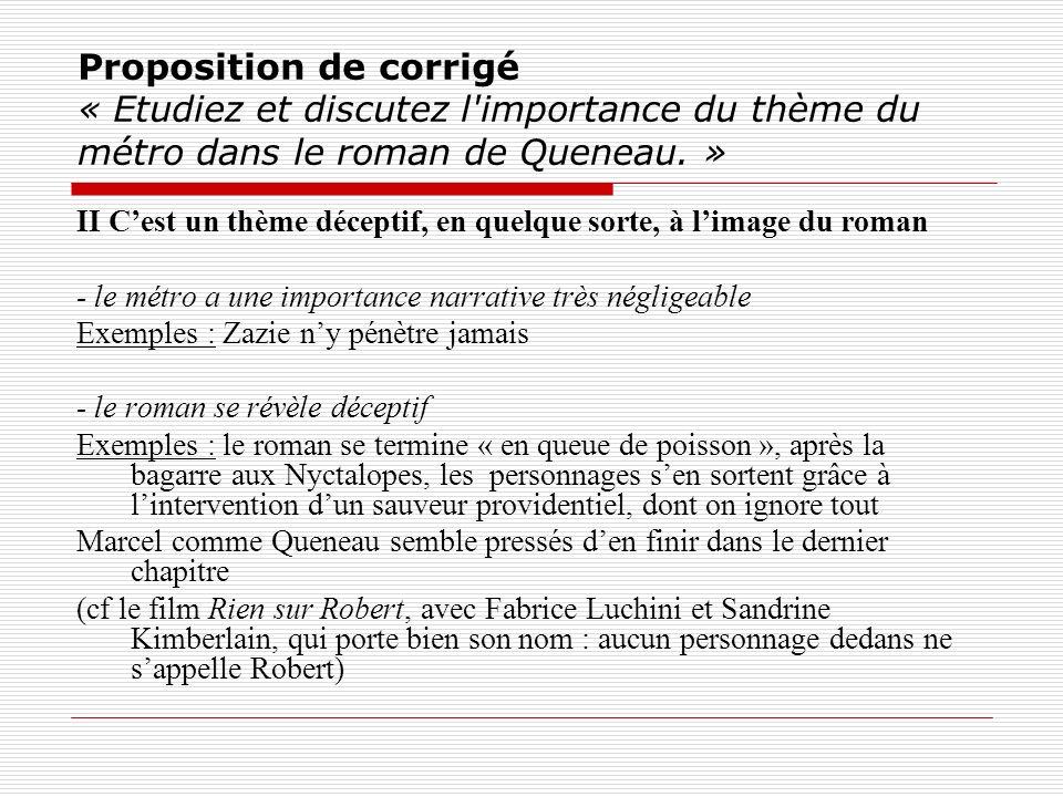 Proposition de corrigé « Etudiez et discutez l'importance du thème du métro dans le roman de Queneau. » II Cest un thème déceptif, en quelque sorte, à