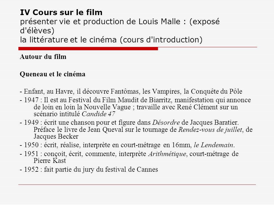 IV Cours sur le film présenter vie et production de Louis Malle : (exposé d'élèves) la littérature et le cinéma (cours d'introduction) Autour du film