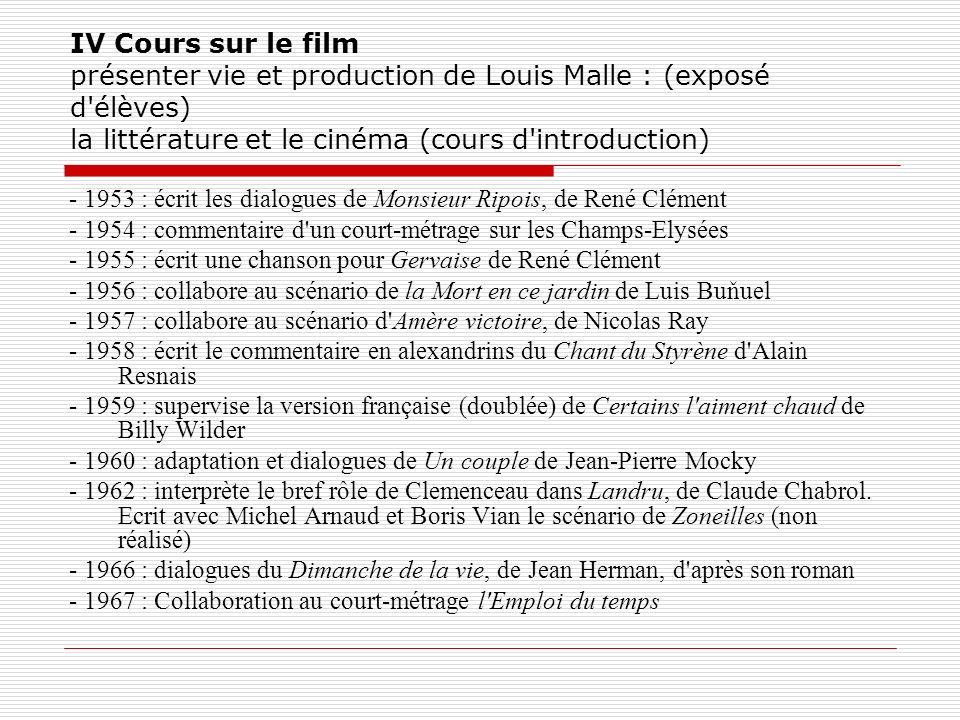 IV Cours sur le film présenter vie et production de Louis Malle : (exposé d'élèves) la littérature et le cinéma (cours d'introduction) - 1953 : écrit