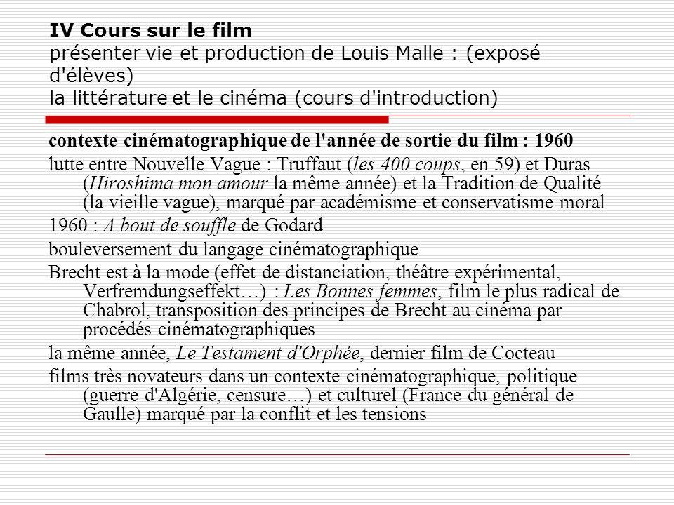 IV Cours sur le film présenter vie et production de Louis Malle : (exposé d'élèves) la littérature et le cinéma (cours d'introduction) contexte cinéma