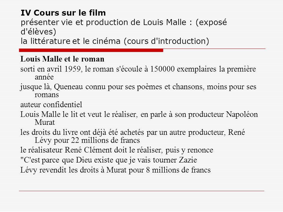 IV Cours sur le film présenter vie et production de Louis Malle : (exposé d'élèves) la littérature et le cinéma (cours d'introduction) Louis Malle et