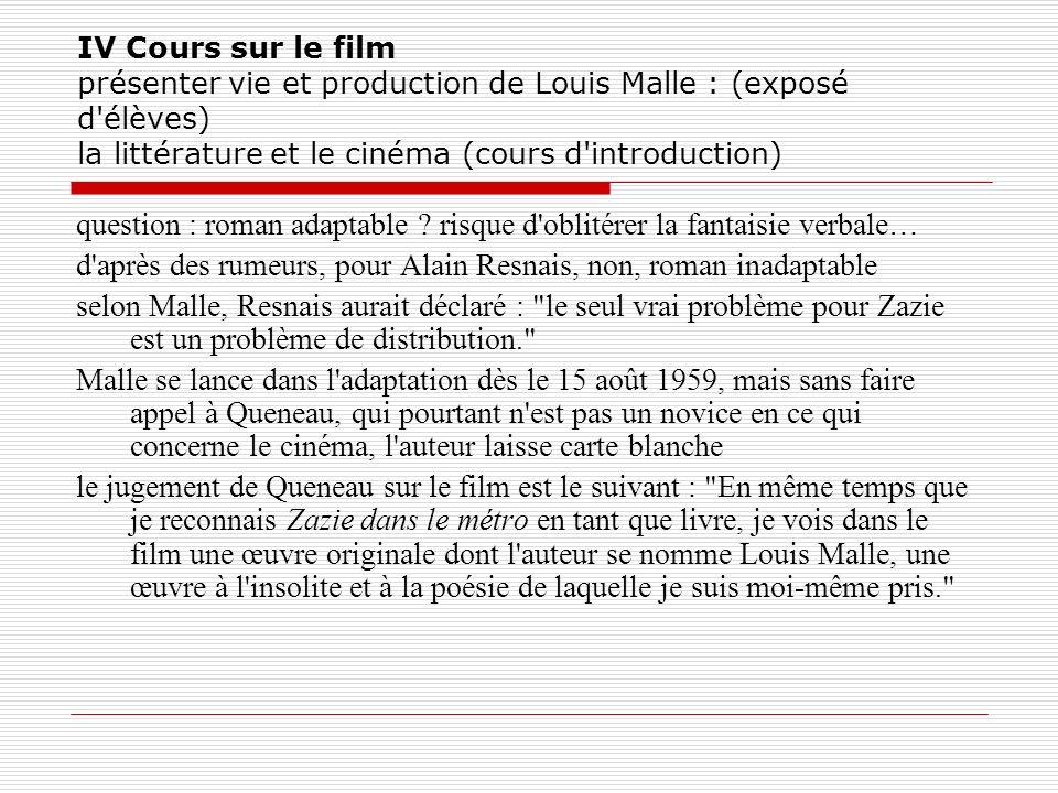 IV Cours sur le film présenter vie et production de Louis Malle : (exposé d'élèves) la littérature et le cinéma (cours d'introduction) question : roma