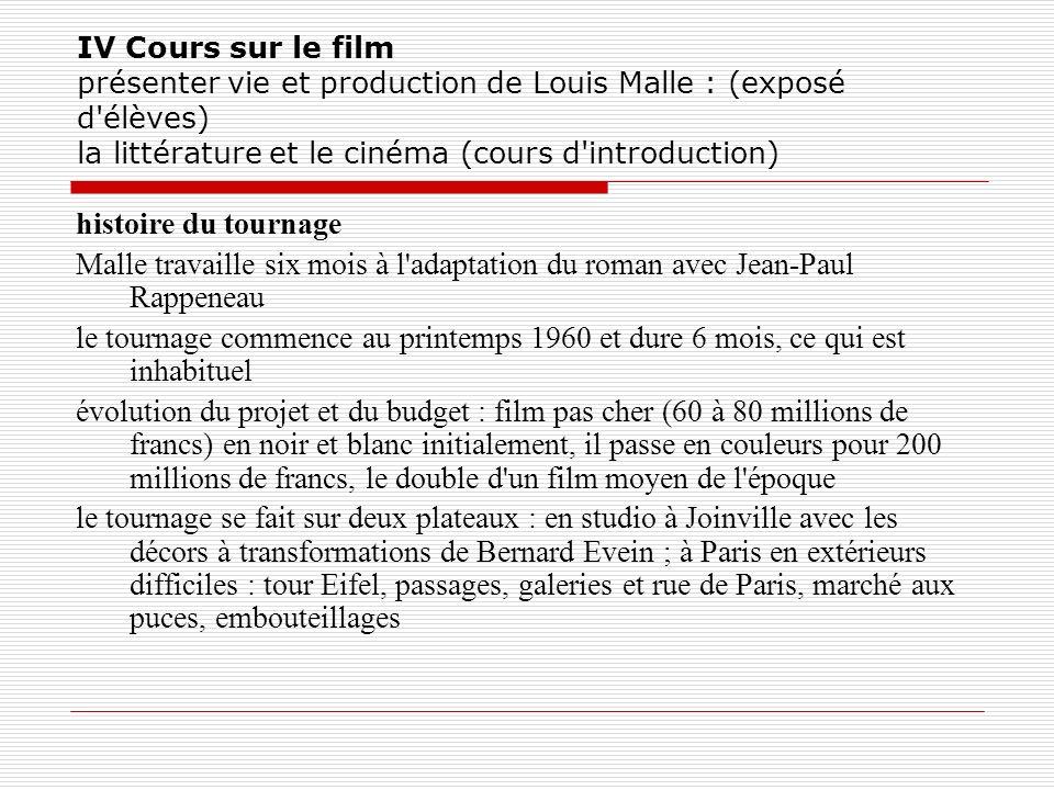 IV Cours sur le film présenter vie et production de Louis Malle : (exposé d'élèves) la littérature et le cinéma (cours d'introduction) histoire du tou