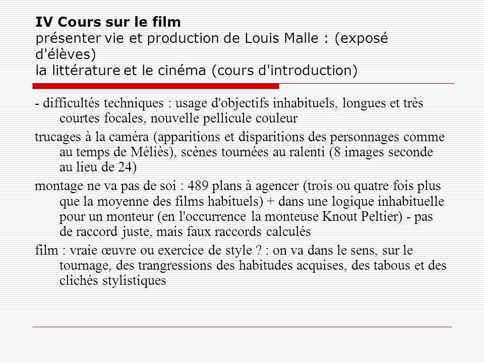 IV Cours sur le film présenter vie et production de Louis Malle : (exposé d'élèves) la littérature et le cinéma (cours d'introduction) - difficultés t