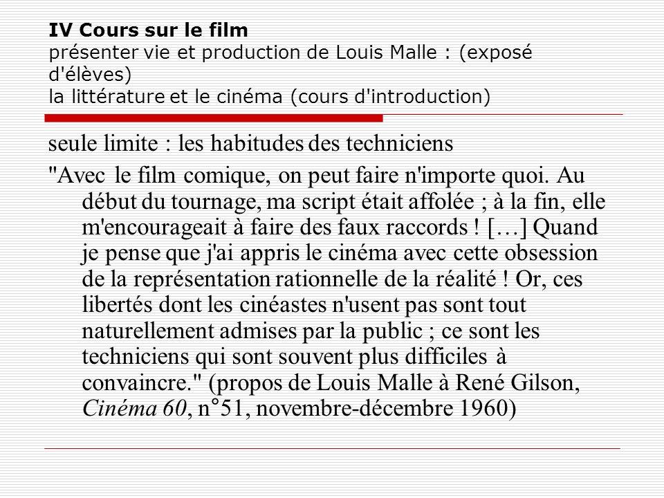 IV Cours sur le film présenter vie et production de Louis Malle : (exposé d'élèves) la littérature et le cinéma (cours d'introduction) seule limite :