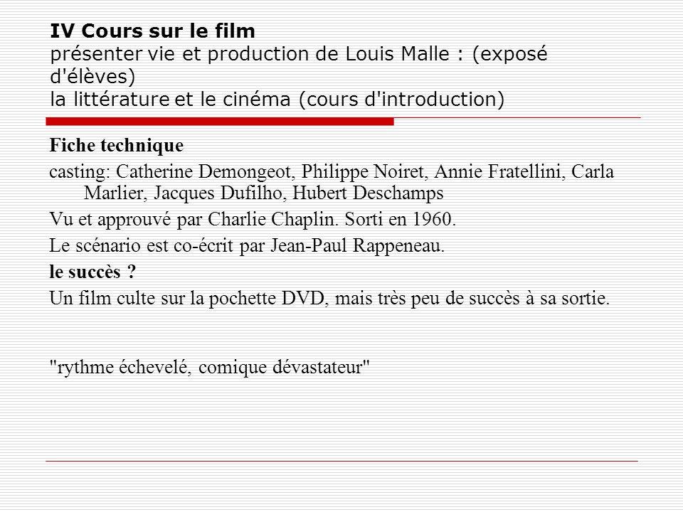 IV Cours sur le film présenter vie et production de Louis Malle : (exposé d'élèves) la littérature et le cinéma (cours d'introduction) Fiche technique