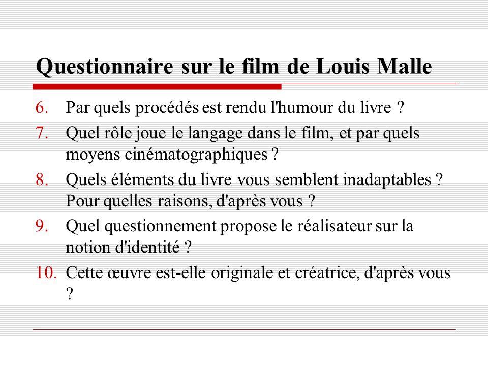 Questionnaire sur le film de Louis Malle 6.Par quels procédés est rendu l'humour du livre ? 7.Quel rôle joue le langage dans le film, et par quels moy