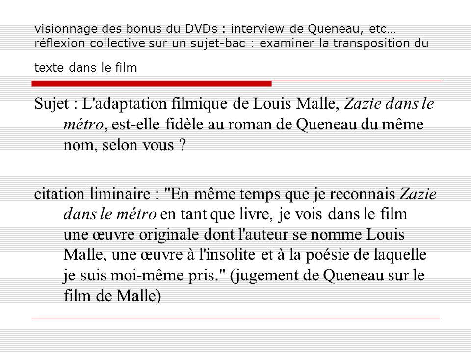 visionnage des bonus du DVDs : interview de Queneau, etc… réflexion collective sur un sujet-bac : examiner la transposition du texte dans le film Suje