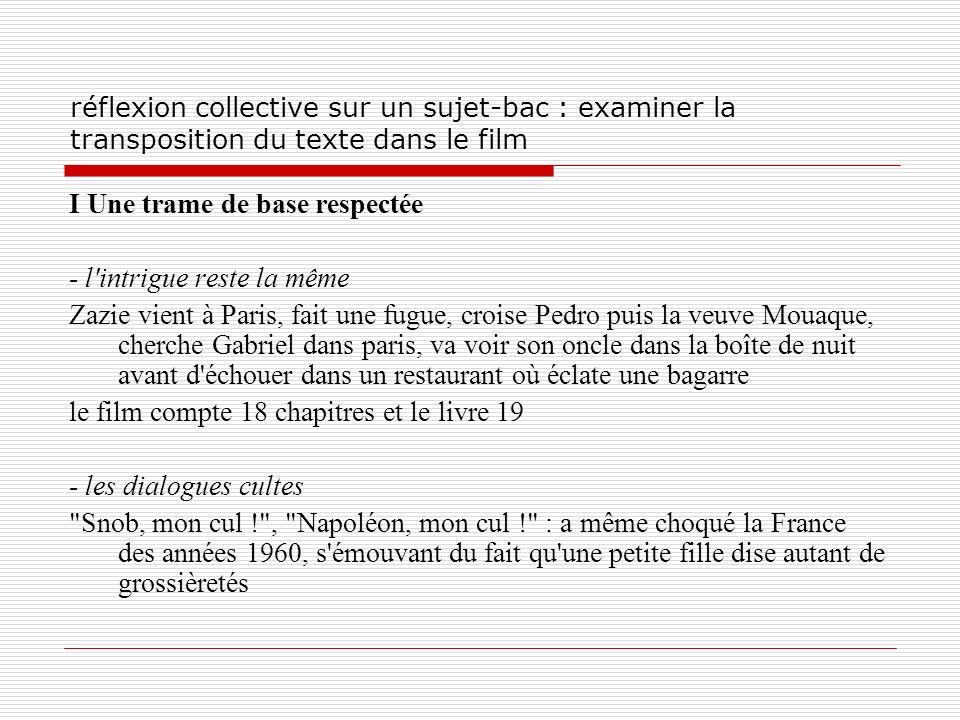 réflexion collective sur un sujet-bac : examiner la transposition du texte dans le film I Une trame de base respectée - l'intrigue reste la même Zazie