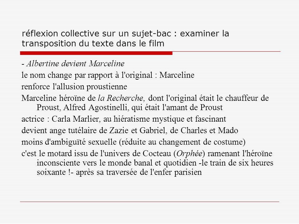 réflexion collective sur un sujet-bac : examiner la transposition du texte dans le film - Albertine devient Marceline le nom change par rapport à l'or